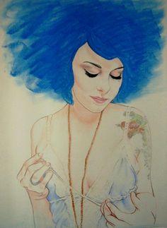 """Blue"" - chalk pastel/colored pencil on drawing paper By Amber D'Angelo Chalk Pastels, Soft Pastels, Portrait Art, Portraits, Chalk Pencil, Architecture Art Design, Encaustic Painting, Woman Drawing, Wood Engraving"