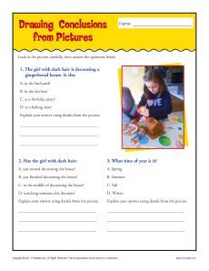 Synthesizing information to Draw Conclusions Worksheet | TpT