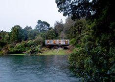 Pezo von Ellrichshausen reveals top-heavy house by a lagoon