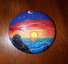 Sunset beach rock by StoniesbyHeidi on Etsy