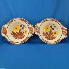 Vernon Kilns Gale Turnbull Casa California T632 Lug Chowder Bowls (2) 1937-38 #VernonKilns