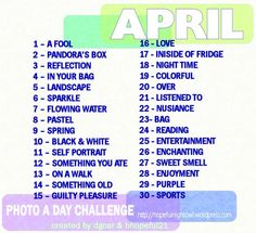 April Photo a Day Challenge - Love these lists as often things I would never think to take a picture of!