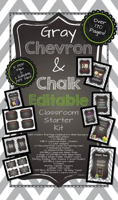 off this and entire store July Over 170 Pages! Gray Chevron and Chalk EDITABLE Classroom Starter Kit! Get ready for August! 5th Grade Classroom, Toddler Classroom, Classroom Design, Classroom Displays, Future Classroom, School Classroom, Classroom Themes, Chevron Classroom, Teachers Toolbox