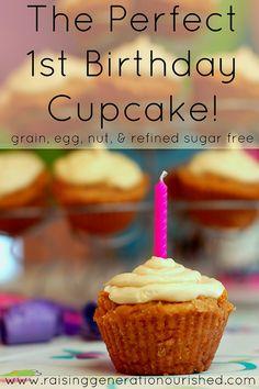 Perfect 1st Birthday Cupcake: Grain, Nut, Egg, & Refined Sugar Free- •½ cup olive oil (Butter/coconut oil), •1 c whole organic cream OR coconut milk, •2 c unsweetened applesauce, •3 TB apple cider vinegar, •1 TB vanilla extract, •¼ c maple syrup, •1 ¼ c coconut flour, •2 c tapioca flour, •¼ cup Great Lakes cold soluble gelatin, •1 TB baking soda, •1 tsp sea salt. MAPLE BUTTERCREAM FROSTING- •⅓ c pure maple syrup, •½ c butter OR coconut cream, •¼ tsp vanilla extract, •1 cup tapioca flour