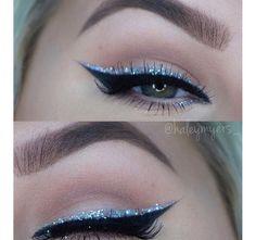 Blue glitter eyeliner