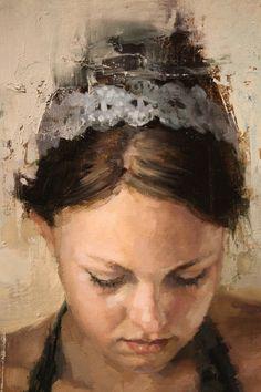 Jeremy Mann (b. 1979), oil on panel {figurative #impressionist art female head Tierra woman face painting #loveart} redrabbit7.com