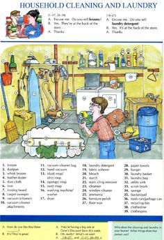 20 - HOUSEHOLD CLEANING AND LAUNDRY - Pictures dictionary - English Study, explanations, free exercises, speaking, listening, grammar lessons, reading, writing, vocabulary, dictionary and teaching materials