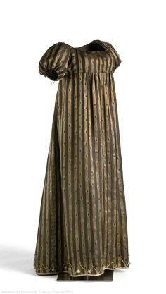 Dress: ca. 1795, woven silk, linen, metal.
