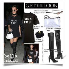"""""""#getthelook#bellahadid"""" by mackenziefoxy7 ❤ liked on Polyvore featuring Stuart Weitzman, Chanel and Chrome Hearts"""