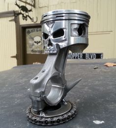 """Slinger"" Hand carved Skull Piston from Morgan's Garage"
