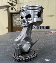 """Slinger"" Hand carved Skull Piston from Morgan's Garage"