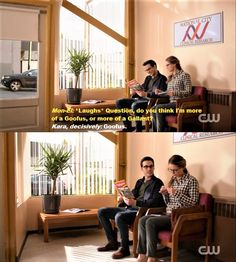 Kara and Mon El Supergirl 2x09 Supergirl Lives. I need these two as a comedic duo like nobody's business. Especially because together, they ARE Goofus and Gallant. <3  TV Shows  CW's Supergirl  Kara/Mon-El  #Karamel  #Supergirl funny 