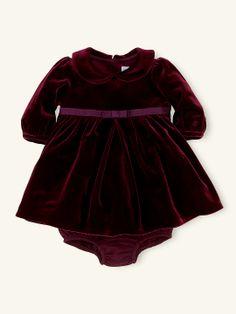 Long-Sleeved Velvet Dress - Dresses & Rompers   Layette Girl (Newborn–9M) - RalphLauren.com
