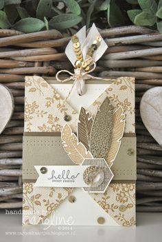 Stampin' Up! I love lace Four Feathers Six Sided Sampler birthday card