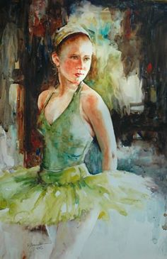 New Practice Tutu- artist Bev Jozwiak, watercolor
