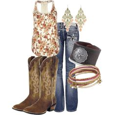 A fashion look from February 2013 featuring Full Tilt tops, Rock Revival jeans and Ariat boots. Browse and shop related looks. Cowgirl Outfits, Cowgirl Style, Western Outfits, Cowgirl Boots, Western Wear, Cowgirl Fashion, Cowgirl Clothing, Gypsy Cowgirl, Cowgirl Chic
