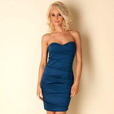 Women | Navy Womens Bandeau Dress | Get The label Day Dresses, Summer Dresses, Bandeau Dress, Strapless Dress Formal, Formal Dresses, Designer Evening Dresses, Going Out Dresses, Work Wear, Label