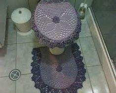 Resultado de imagem para jogo de banheiro de croche em barbante passo a passo