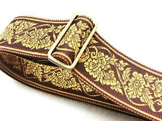 Crimson Red and Gold Floral Vine Pattern Guitar Strap by Pailin Straps