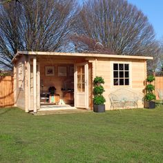 4m x 3m Waltons Home Office Executive Log Cabin on Walton Garden Buildings