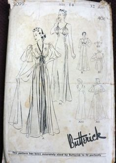 1940s Butterick nightgown and negligee pattern. So cute!