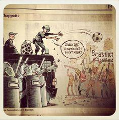 """Charge suíça sobre os protestos no Brasil: """"Mesmo isso [a bola] já não funciona mais""""."""