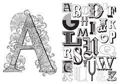 Claire Cater Typoghraphy Coloring Book c. könyvéből ízelítő