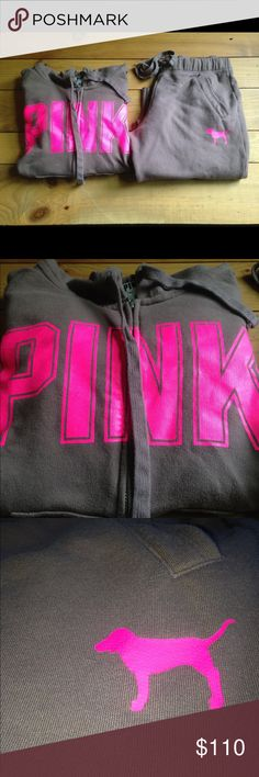 Sweatsuit Set Brown and Hot Pink size Small Like New, New, New!!! Last Chance before I remove it from this site. Zip up hoodie has been worn and washed like once and Boyfriend pants are brand new I just took the Tags off and washed because I thought I wanted to keep them. No Defects! PINK Victoria's Secret Tops Sweatshirts & Hoodies