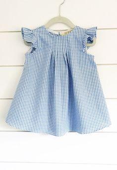 Handmade Gingham Flutter Sleeve Dress | BabybeHappy on Etsy