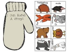 """Paper Bag Retelling: """"THE MITTEN"""" by Jan Brett. Colored and black/white versions included in this download. $"""