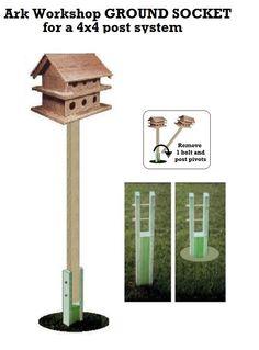 Ark Workshop GROUND SOCKET for wooden 4x4x8' birdhouse pole system for Purple Martin Houses & Large bird houses by ArkWorkshop on Etsy https://www.etsy.com/listing/183146862/ark-workshop-ground-socket-for-wooden