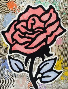 Donald Baechler / found on www.kunzt.gallery / The Red Rose, 2015 / Screenprint