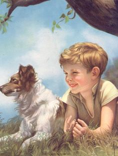 Boy And Faithful Dog -Adelaide Hiebel – Art And Illustration, Images D'art, Tier Fotos, Art Auction, Dog Art, Beautiful Paintings, Art Pictures, Painting & Drawing, Watercolor Painting