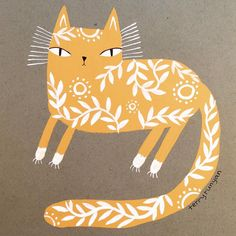 Fancy yellow #gouache kitty By terry runyan