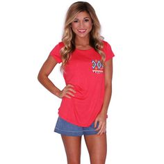 Lovestruck Tee in Coral | Impressions  A little print on your basic tee is great way to show your style!