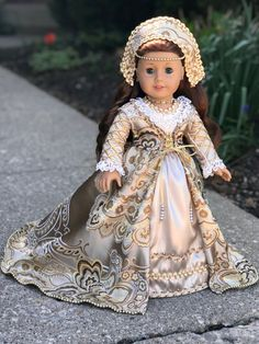Coronation Gown - One of a Kind Historical Gown for 18 inch American Girl Doll American Girl Doll Costumes, American Girl Dress, American Doll Clothes, Girl Doll Clothes, Doll Clothes Patterns, Girl Costumes, Girl Dolls, Ag Dolls, American Girls