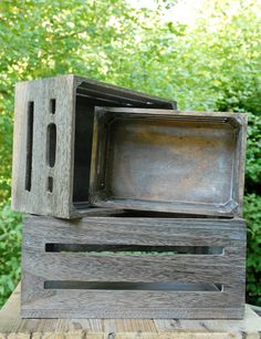Wood Crate Light Brown (Set of 3)  Instead of cake stands, layer the pies on wooden crates