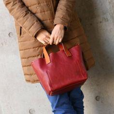 【ミニトートバッグ+レッド】コンパクトで持ちやすい牛革トートバッグ。スタイルストア