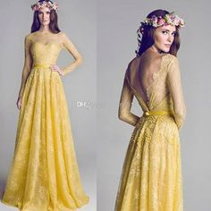 2014 New Illusion Neckline Backless Yellow Lace A-Line Long sleeve Prom Dress Evening Gowns Bridesmaid Party Dresses Celebrity Dress Gradu