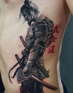 Samurai tattoos are today one of the most popular Japanese tattoo designs. Japanese Forearm Tattoo, Japanese Warrior Tattoo, Japanese Sleeve Tattoos, Best Sleeve Tattoos, Tattoo Sleeve Designs, Tattoo Designs Men, Leg Tattoos, Dragon Tattoo Forearm, Japanese Tattoos For Men