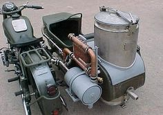 Working Steam/Diesel punk-esque motorcycle. Wood gasification rig is awesome.
