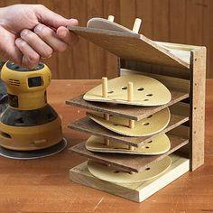 Flip-Up Sanding Disc Organizer Woodworking Plan