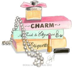Southern Belle Necessities~ Charm, Elegance,Etiquette,Pearls,Lipstick, And Perfume...Artist Sandy M