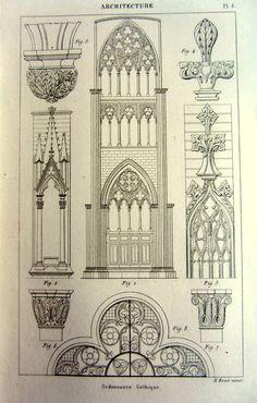 1852 ancient Gothic ornaments decoration print, antique vintage architecture designs engraving, original art decorations style pattern plate.
