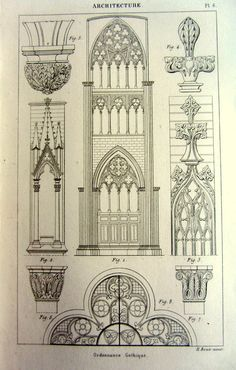 1852 ancient Gothic ornaments decoration print, antique vintage architecture designs engraving, original art decorations style pattern plate.