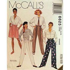 Misses' Pants Shorts Sash Belt McCalls 6625 Vintage Pattern Size L 16 18 c833 #McCalls