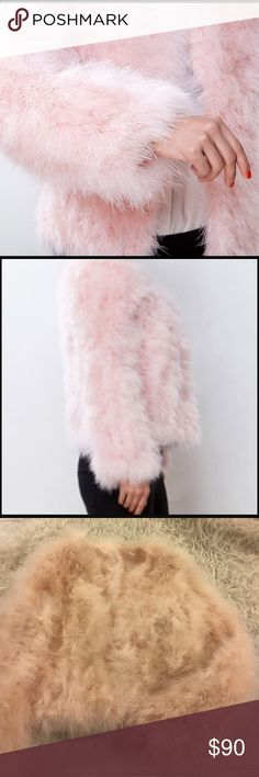 """Nordstrom Pink Feather Long Sleeve Jacket Turkey feathers, slim fit, hook and eye closure, 26"""" Sleeve, 36"""" bust, 19"""" length Nordstrom Jackets & Coats"""