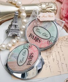 Pretty Paris-themed mirror compact favor