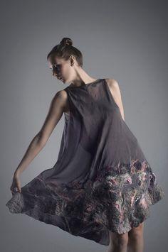 Silk dress with felting by designer Olga Pokrywka. Natural silk (muslin) with nunofelted Australian merino wool. via OlgaPokrywkafashion on Etsy