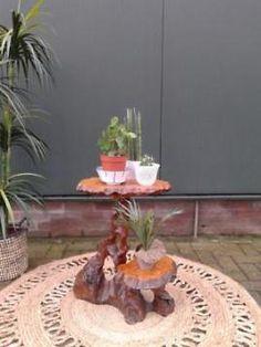 Uniek vintage plantentafeltje boomstam tafeltje bijzettafel